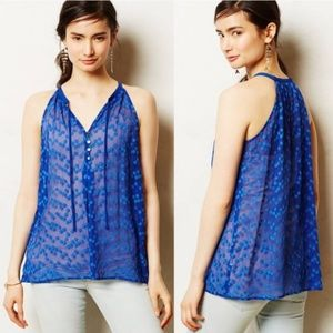 Anthropologie ZOA New York Dotted Blue Silk Blouse